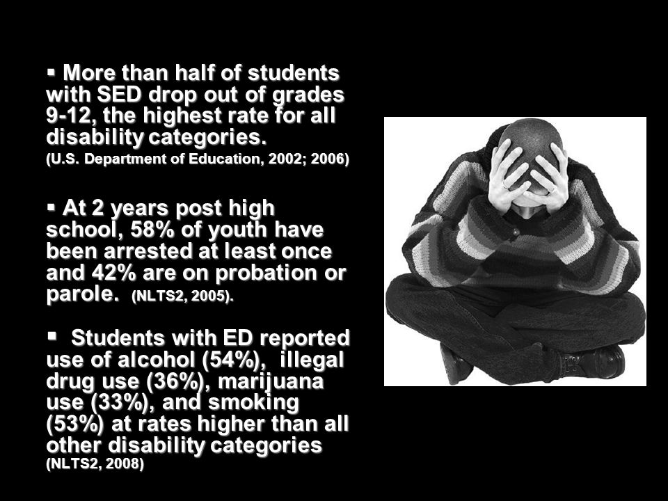 Over 15% of all students with disabilities (6-21) are taking psychotropic medications (USDOE, 2005) About 1/3 of all adolescent students with disabilities have been suspended or expelled (USDOE, 2005)