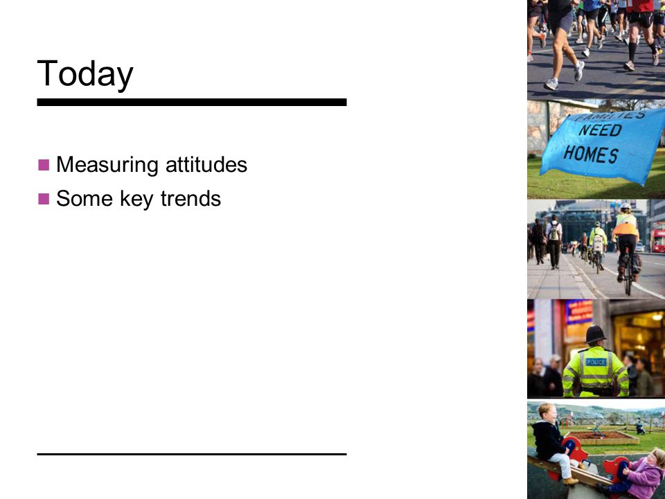 Today Measuring attitudes Some key trends