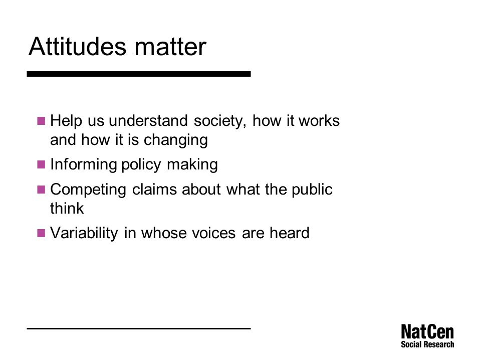 Attitudes matter Help us understand society, how it works and how it is changing Informing policy making Competing claims about what the public think Variability in whose voices are heard