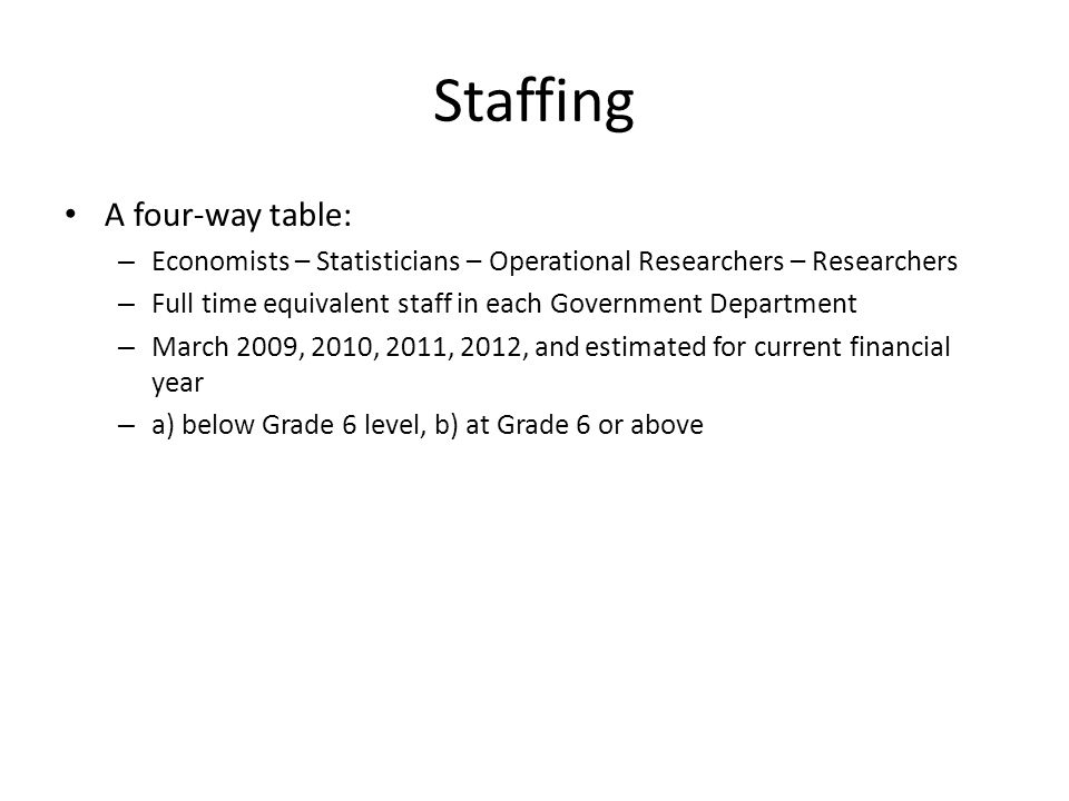Staffing A four-way table: – Economists – Statisticians – Operational Researchers – Researchers – Full time equivalent staff in each Government Department – March 2009, 2010, 2011, 2012, and estimated for current financial year – a) below Grade 6 level, b) at Grade 6 or above