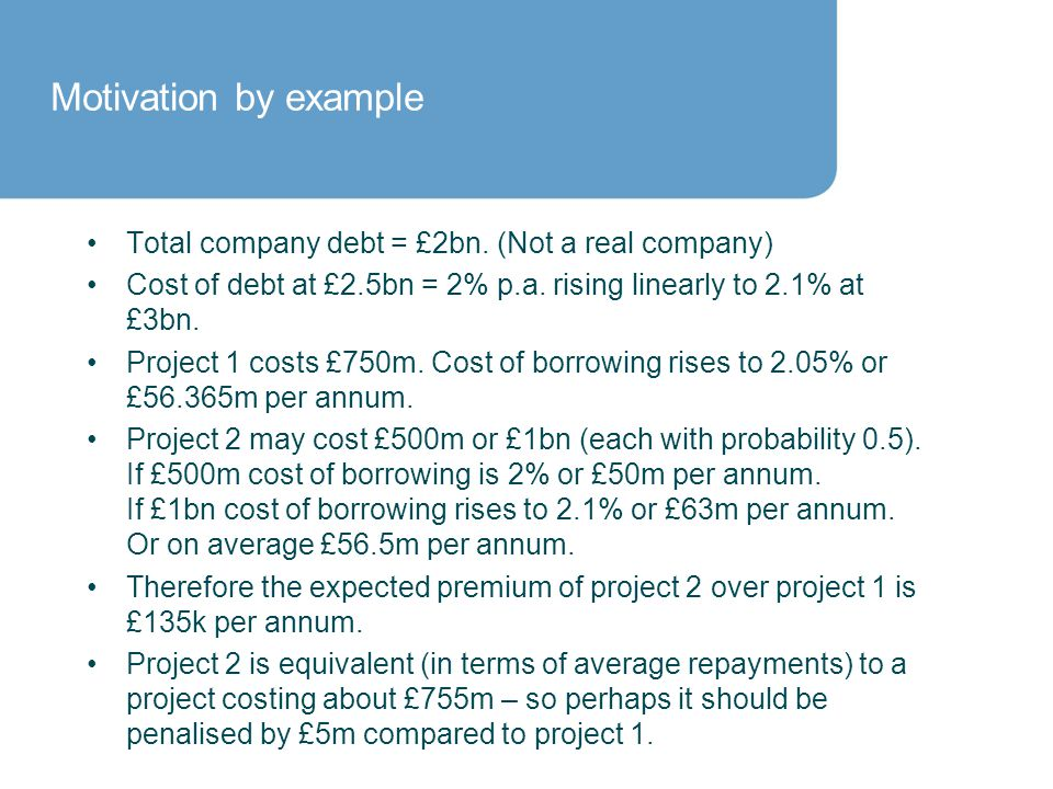 Motivation by example Total company debt = £2bn.