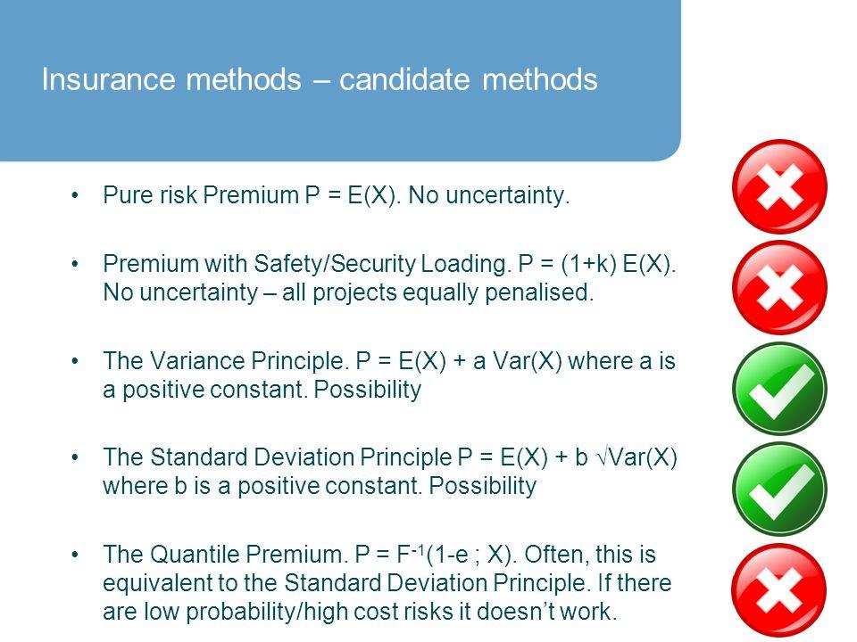 Insurance methods – candidate methods Pure risk Premium P = E(X).