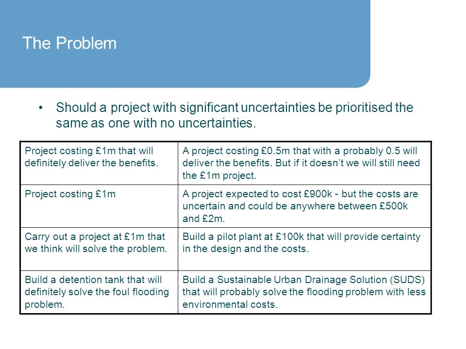 Should a project with significant uncertainties be prioritised the same as one with no uncertainties.