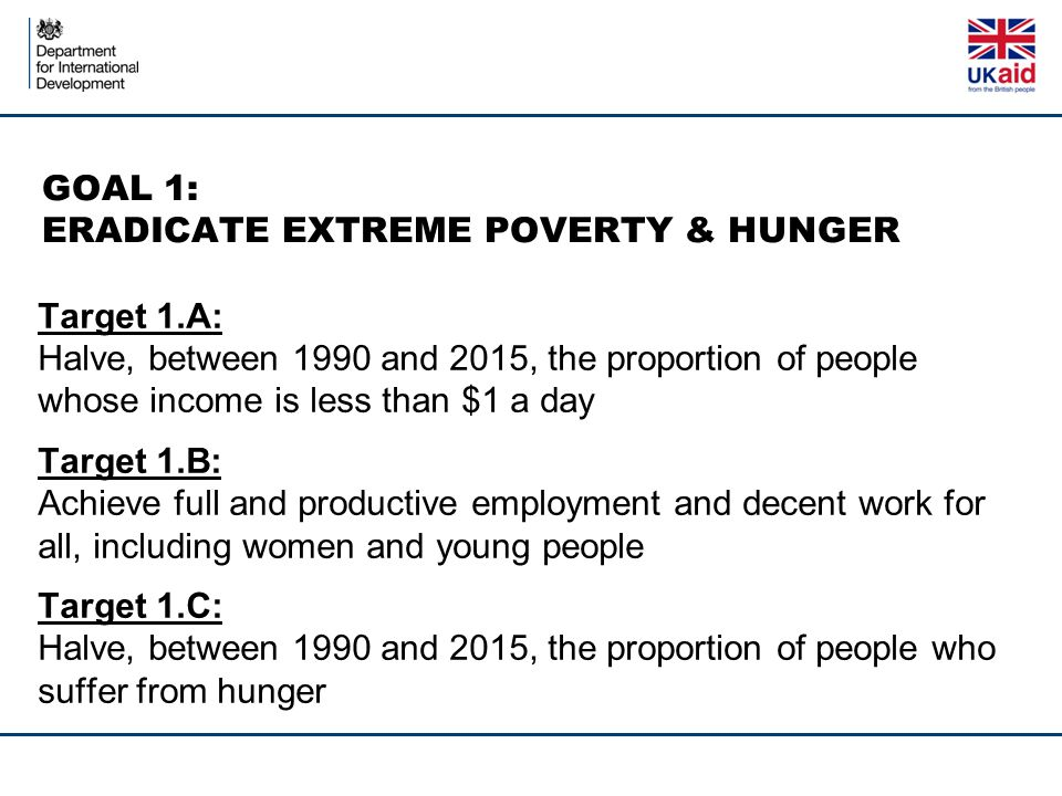 GOAL 1: ERADICATE EXTREME POVERTY & HUNGER Target 1.A: Halve, between 1990 and 2015, the proportion of people whose income is less than $1 a day Target 1.B: Achieve full and productive employment and decent work for all, including women and young people Target 1.C: Halve, between 1990 and 2015, the proportion of people who suffer from hunger