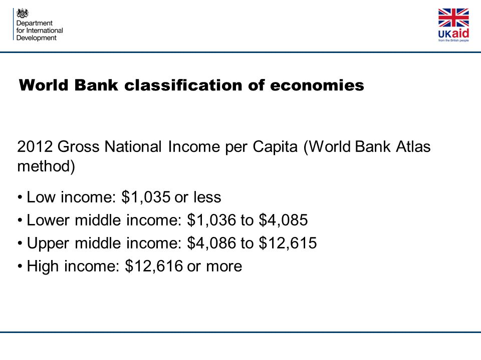 World Bank classification of economies 2012 Gross National Income per Capita (World Bank Atlas method) Low income: $1,035 or less Lower middle income: $1,036 to $4,085 Upper middle income: $4,086 to $12,615 High income: $12,616 or more