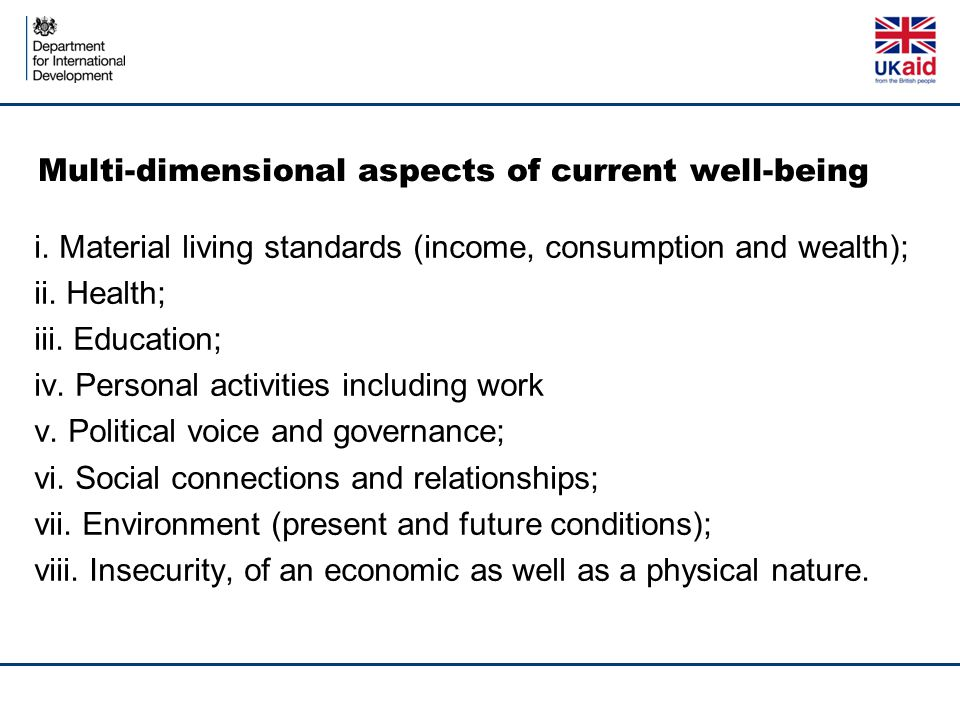 Multi-dimensional aspects of current well-being i.
