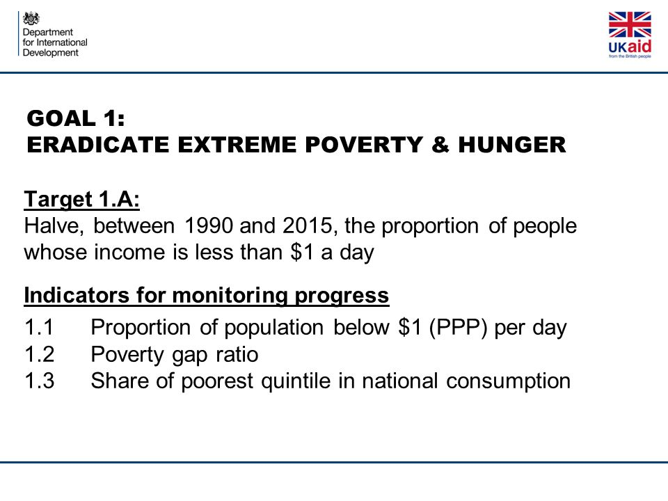 GOAL 1: ERADICATE EXTREME POVERTY & HUNGER Target 1.A: Halve, between 1990 and 2015, the proportion of people whose income is less than $1 a day Indicators for monitoring progress 1.1Proportion of population below $1 (PPP) per day 1.2Poverty gap ratio 1.3Share of poorest quintile in national consumption