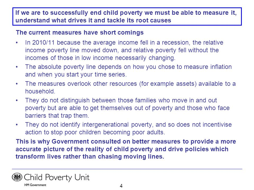 In 2010/11 because the average income fell in a recession, the relative income poverty line moved down, and relative poverty fell without the incomes of those in low income necessarily changing.