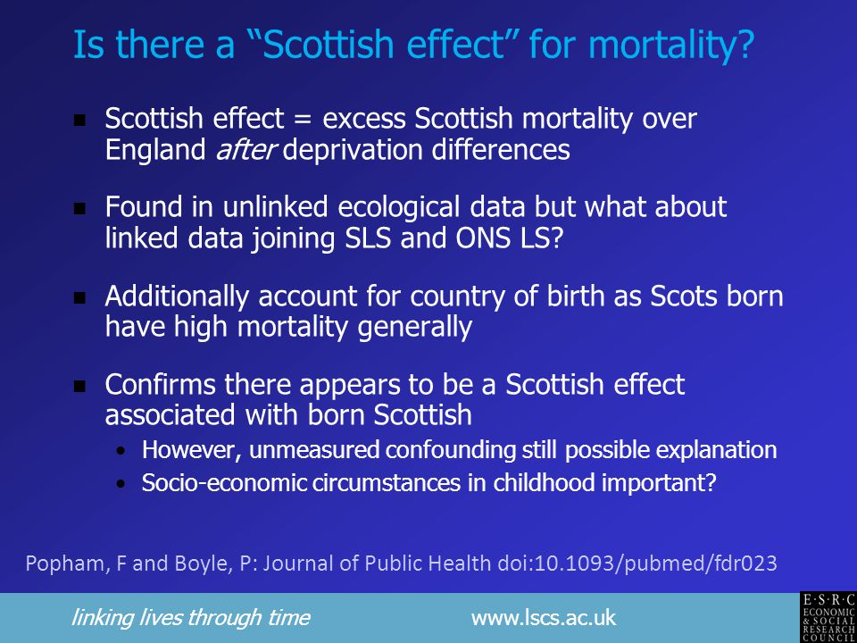 linking lives through time www.lscs.ac.uk Is there a Scottish effect for mortality.
