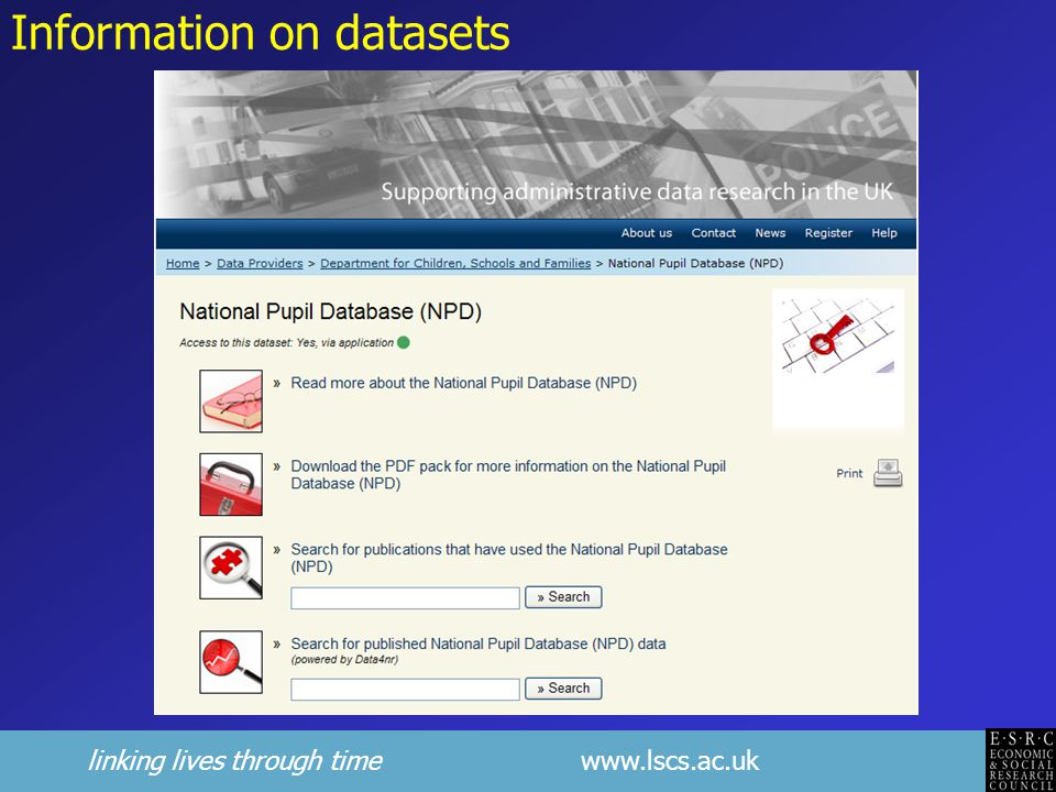 Information on datasets