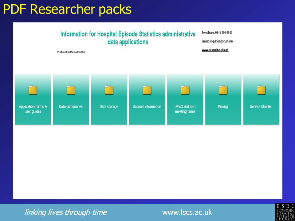 linking lives through time www.lscs.ac.uk PDF Researcher packs