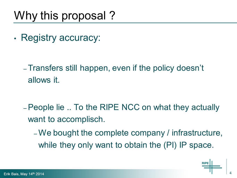 Erik Bais, May 14 th 2014 Why this proposal .