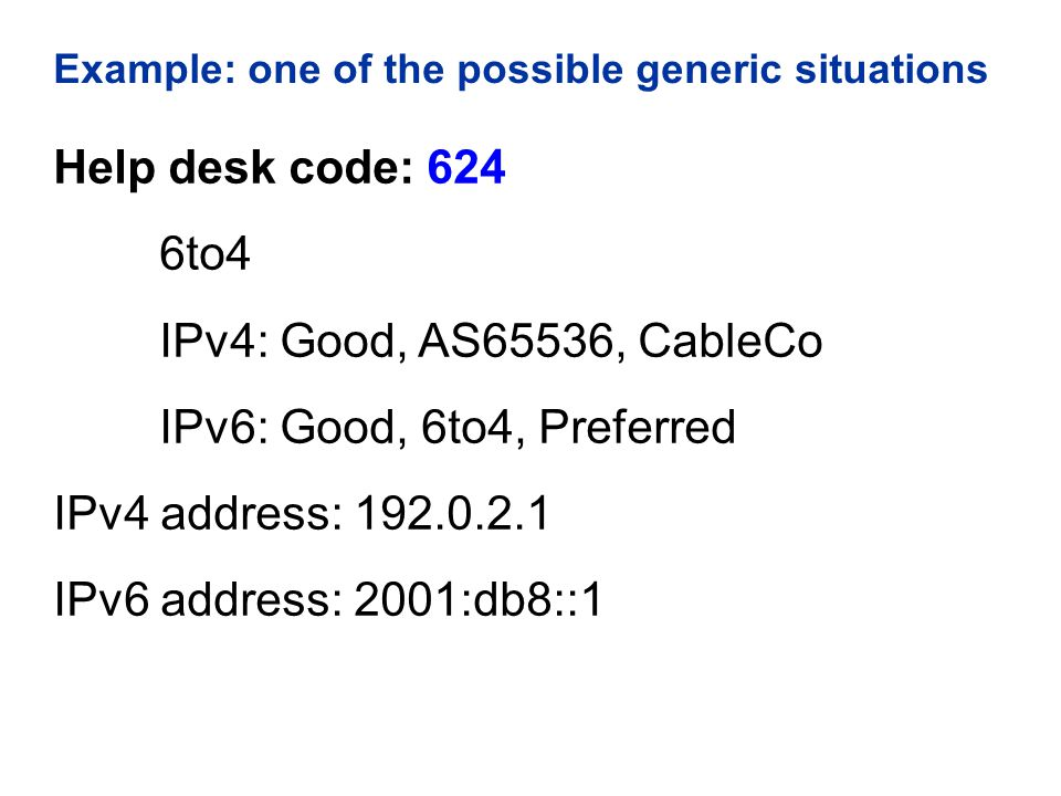 Example: one of the possible generic situations Help desk code: 624 6to4 IPv4: Good, AS65536, CableCo IPv6: Good, 6to4, Preferred IPv4 address: 192.0.2.1 IPv6 address: 2001:db8::1