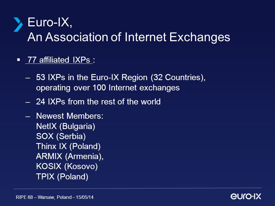 RIPE 68 – Warsaw, Poland – 15/05/14 Euro-IX, An Association of Internet Exchanges  77 affiliated IXPs : –53 IXPs in the Euro-IX Region (32 Countries), operating over 100 Internet exchanges –24 IXPs from the rest of the world –Newest Members: NetIX (Bulgaria) SOX (Serbia) Thinx IX (Poland) ARMIX (Armenia), KOSIX (Kosovo) TPIX (Poland)