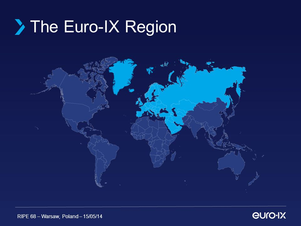 RIPE 68 – Warsaw, Poland – 15/05/14 IXPs in Euro-IX Region 183 Known IXPs 48 Countries have IXPs 133 Cities have IXPs Check our Interactive Map https://www.euro- ix.net/location-of-ixps