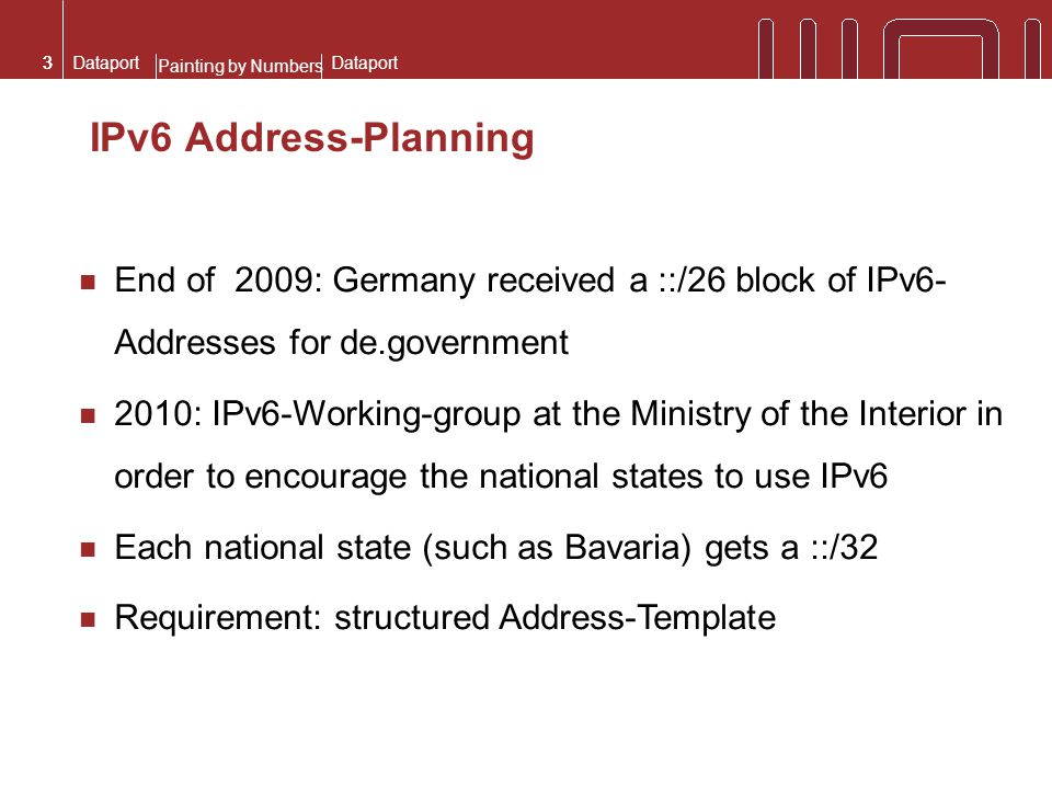 Dataport 444 Painting by Numbers IPv6 Addressing for Schleswig-Holstein Creation of an IPv6-Address-Blueprint Should be template for the other states Explanation necessary