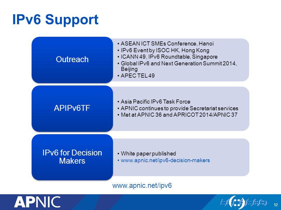 IPv6 Support 12 www.apnic.net/ipv6 ASEAN ICT SMEs Conference, Hanoi IPv6 Event by ISOC HK, Hong Kong ICANN 49, IPv6 Roundtable, Singapore Global IPv6