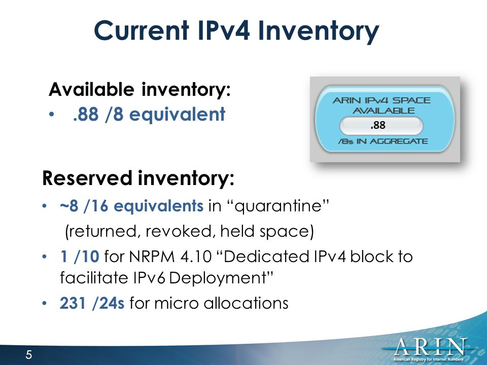 "Current IPv4 Inventory Reserved inventory: ~8 /16 equivalents in ""quarantine"" (returned, revoked, held space) 1 /10 for NRPM 4.10 ""Dedicated IPv4 bloc"