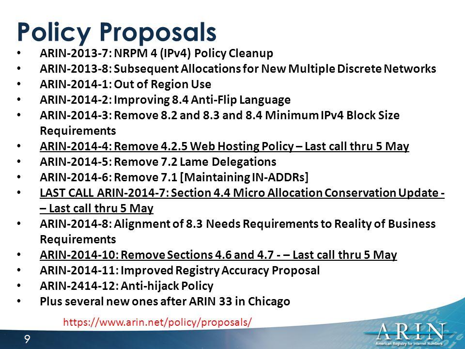 ARIN Policy Meetings 10 Bellevue, WA | 2-4 June
