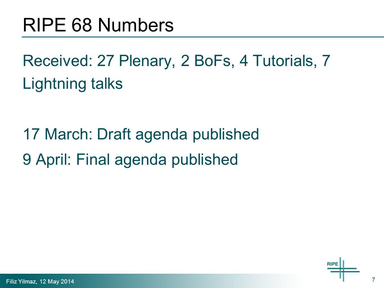 Filiz Yilmaz, 12 May 2014 RIPE 68 Numbers Received: 27 Plenary, 2 BoFs, 4 Tutorials, 7 Lightning talks 17 March: Draft agenda published 9 April: Final agenda published 7