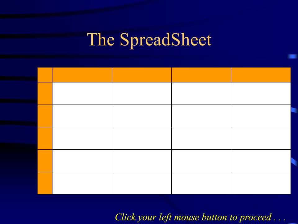 SpreadSheets handle numbers EXCEL Click your left mouse button to proceed...