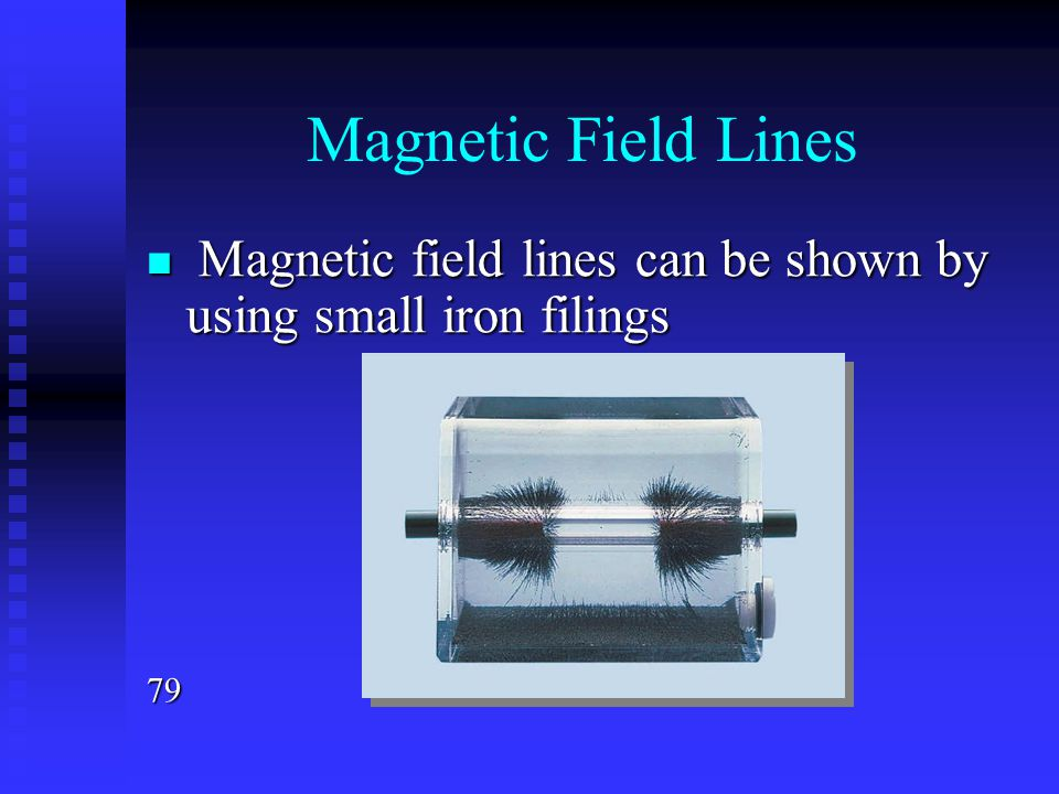Magnetic Field Lines Magnetic field lines can be shown by using small iron filings Magnetic field lines can be shown by using small iron filings79
