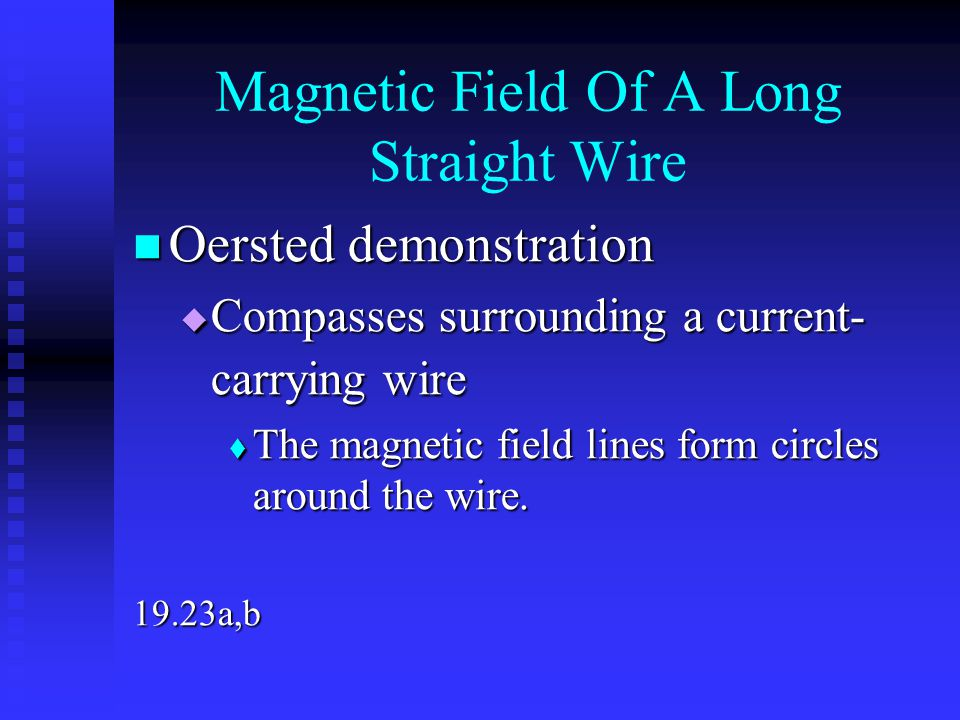 Magnetic Field Of A Long Straight Wire Oersted demonstration Oersted demonstration  Compasses surrounding a current- carrying wire  The magnetic fie