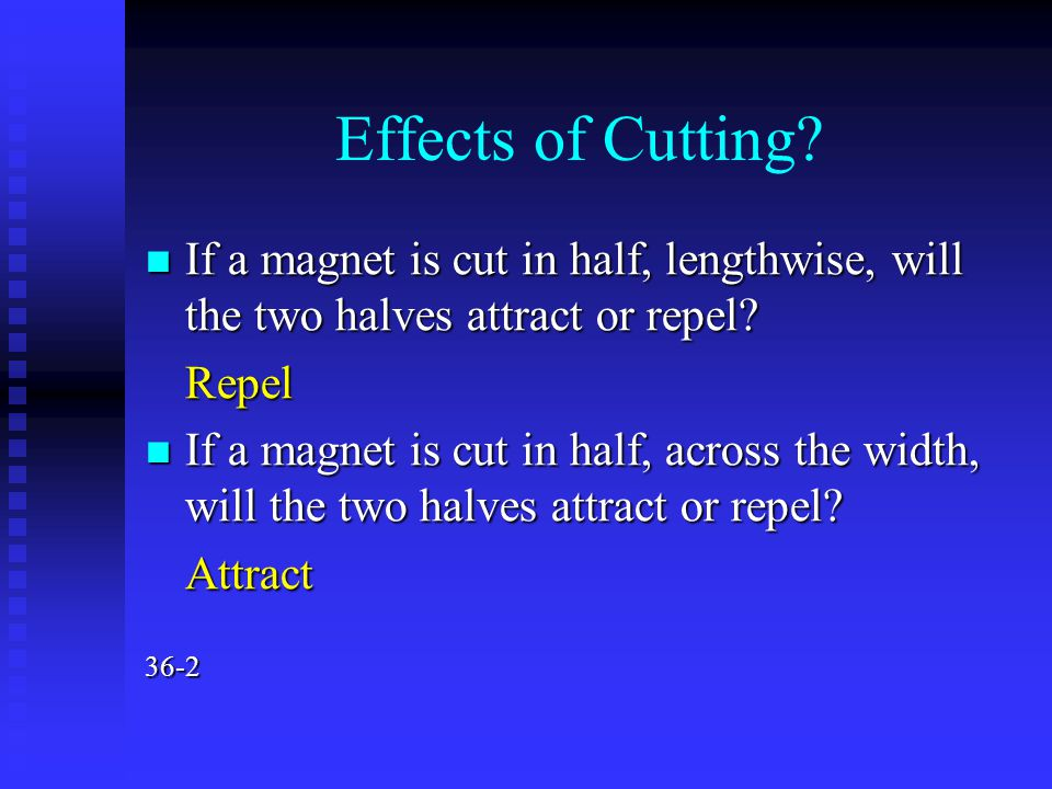 Effects of Cutting? If a magnet is cut in half, lengthwise, will the two halves attract or repel? If a magnet is cut in half, lengthwise, will the two