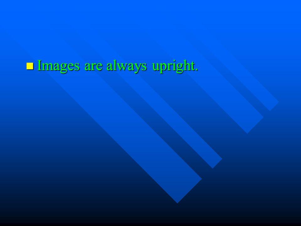 Images are always upright. Images are always upright.