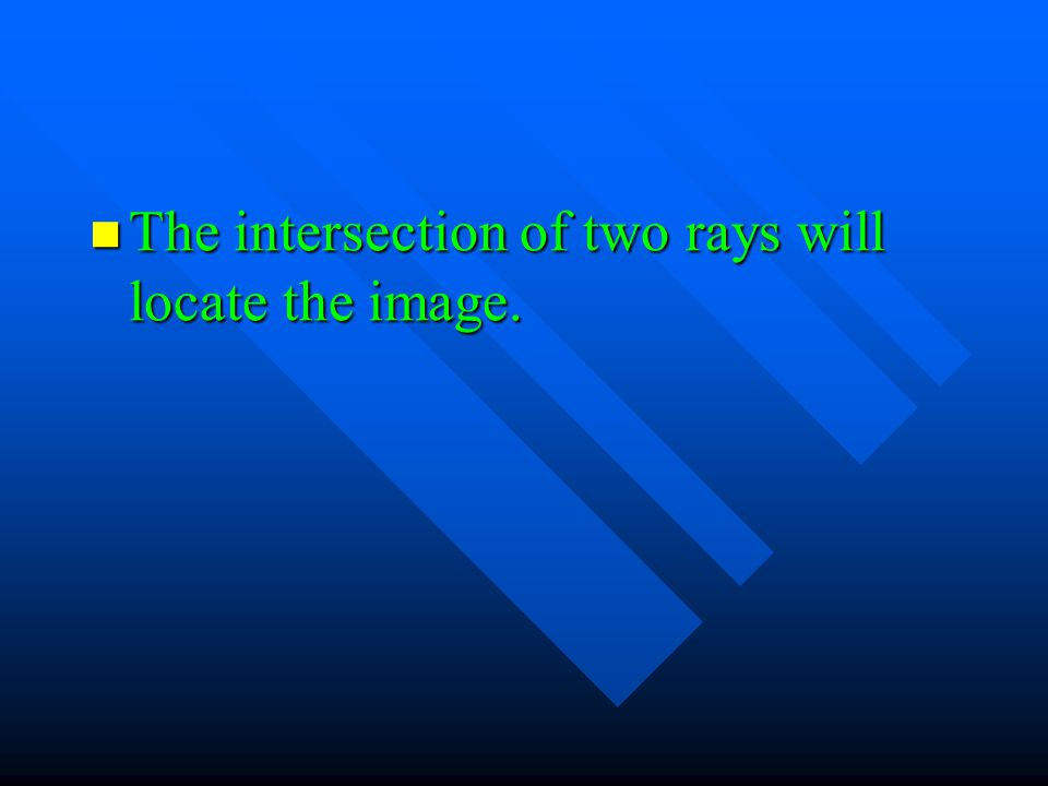 The intersection of two rays will locate the image. The intersection of two rays will locate the image.