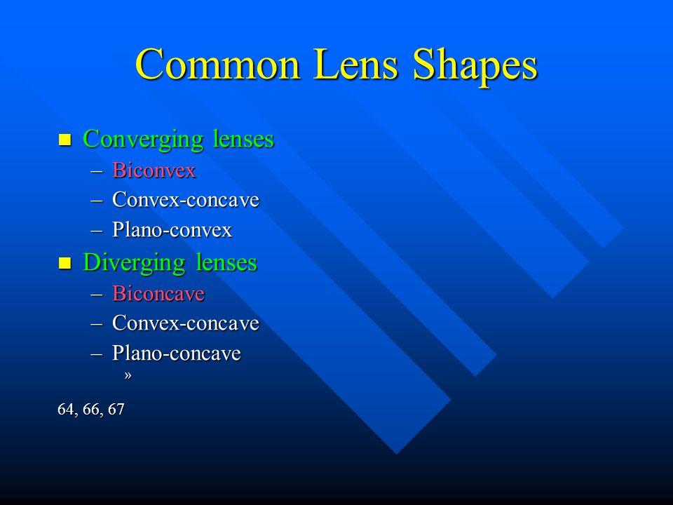 Common Lens Shapes Converging lenses Converging lenses –Biconvex –Convex-concave –Plano-convex Diverging lenses Diverging lenses –Biconcave –Convex-co