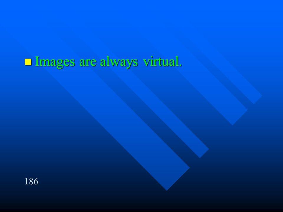 Images are always virtual. Images are always virtual.186