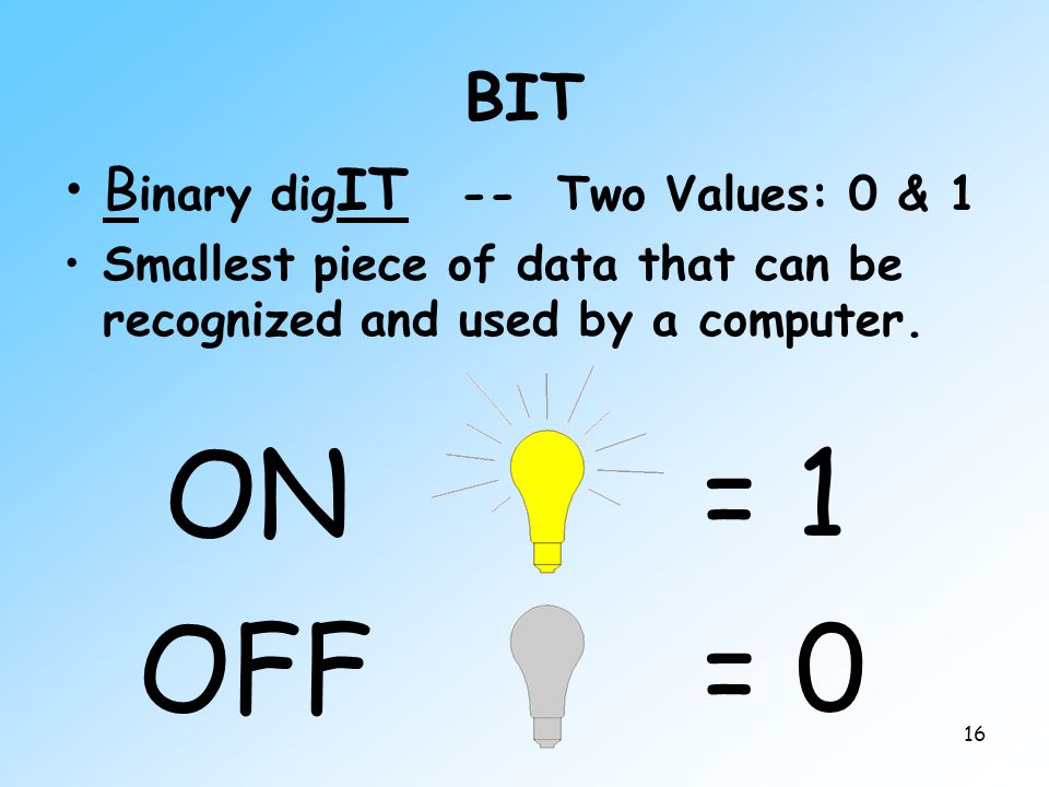 16 BIT B inary dig IT -- Two Values: 0 & 1 Smallest piece of data that can be recognized and used by a computer. ON OFF = 1 = 0