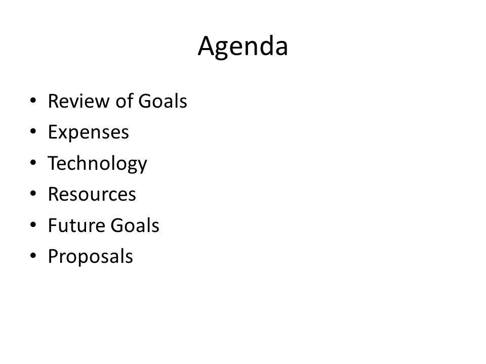 Review of Goals Overview of Goals Completed Goals Goals Remaining Analysis/Discussion