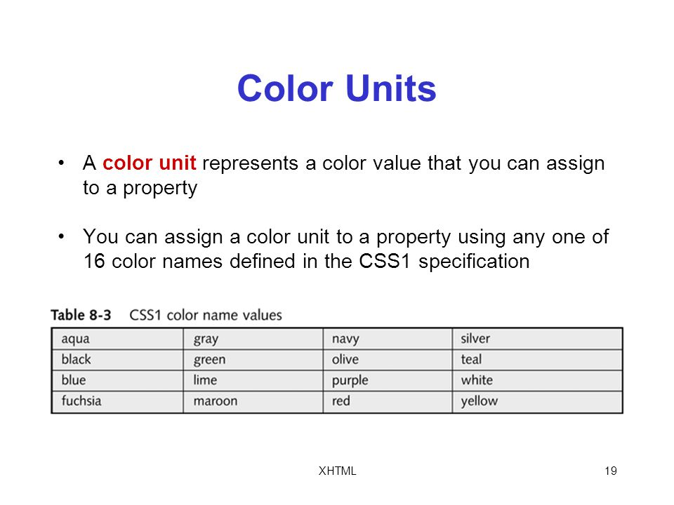 XHTML19 Color Units A color unit represents a color value that you can assign to a property You can assign a color unit to a property using any one of 16 color names defined in the CSS1 specification