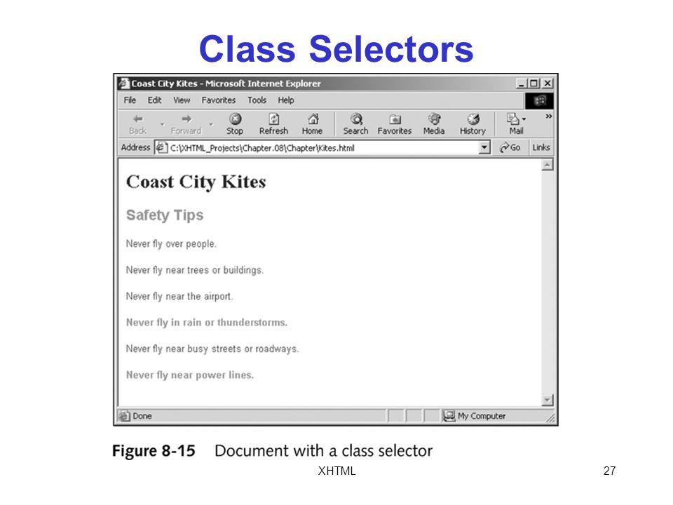 XHTML27 Class Selectors