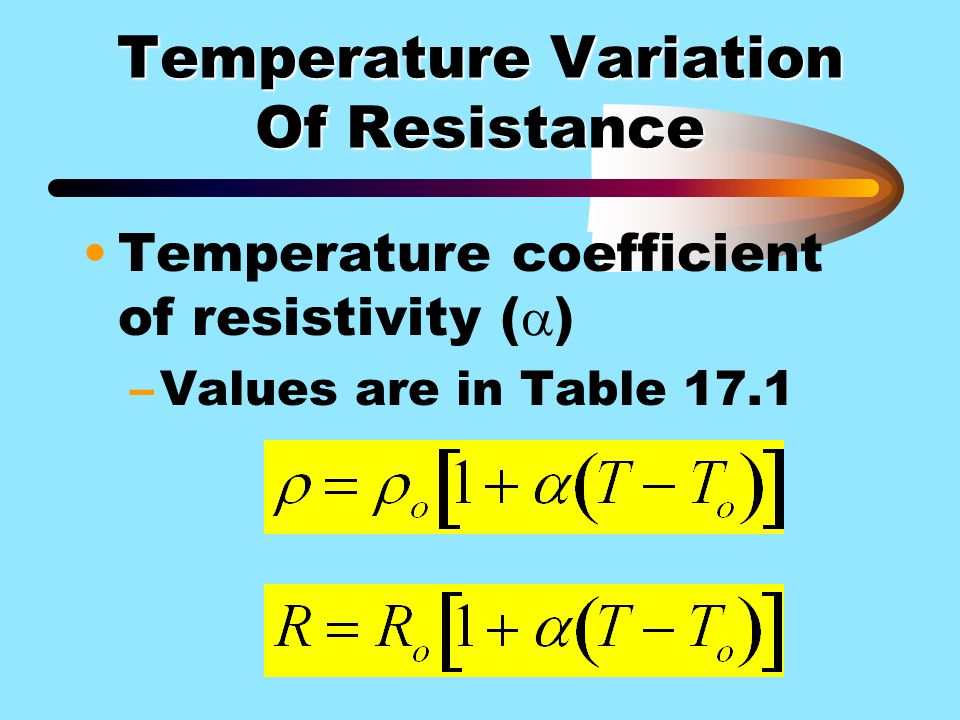 Temperature Variation Of Resistance Temperature coefficient of resistivity (  ) –Values are in Table 17.1