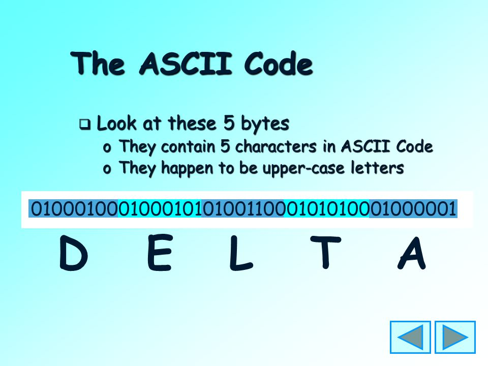 The ASCII Code  Each character has its own pattern of bits – in a code  The code that is used is called ASCII oAmerican Standard Code for Information Interchange oPronounced: Ask-ee