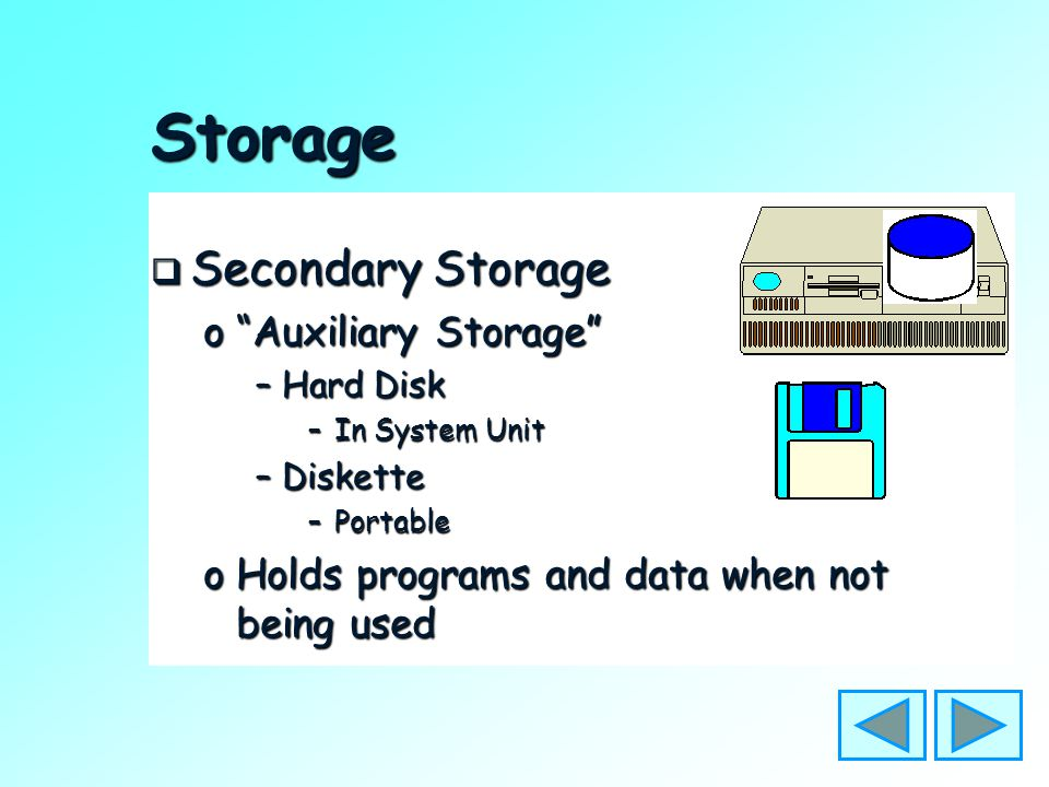 Storage  Main Storage oHolds program being run oHolds data being processed oIn the System Unit oIs Volatile –Needs steady supply of electricity to ke