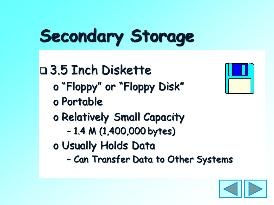 "Secondary Storage  Hard Disk o""Fixed Disk"" oInside System Unit oLarge Capacity oHolds: –Operating System –Programs –Data"