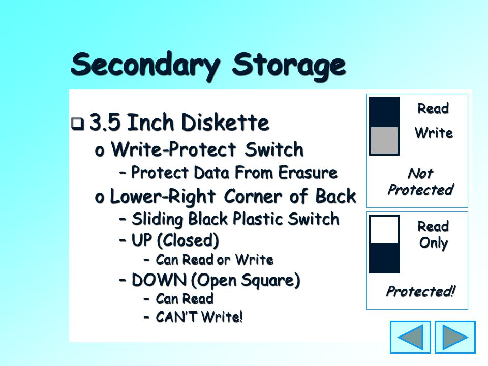 "Secondary Storage  3.5 Inch Diskette o""Floppy"" or ""Floppy Disk"" oPortable oRelatively Small Capacity –1.4 M (1,400,000 bytes) oUsually Holds Data –Ca"