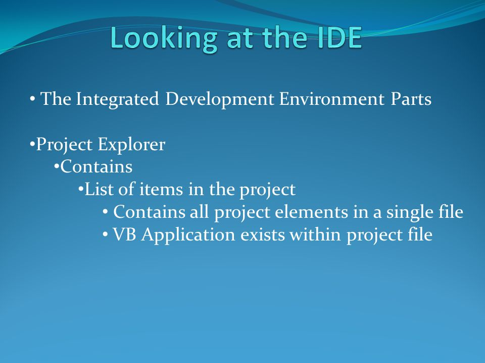 Project Explorer Contains List of items in the project Contains all project elements in a single file VB Application exists within project file