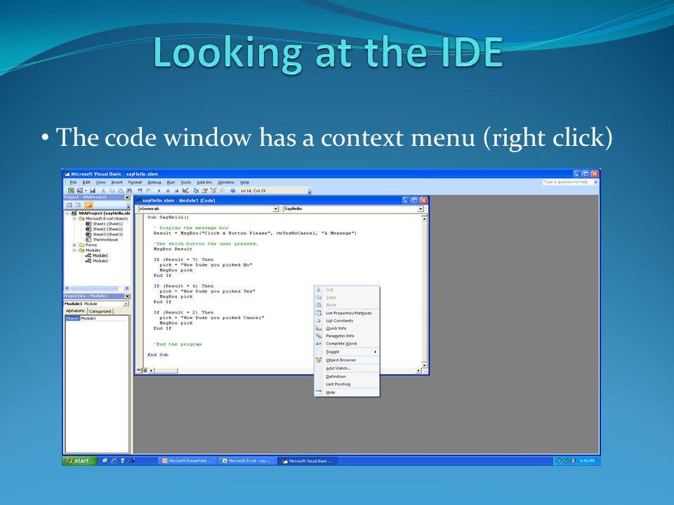 The code window has a context menu (right click)