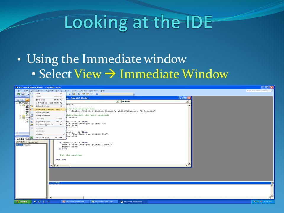 Using the Immediate window Select View  Immediate Window