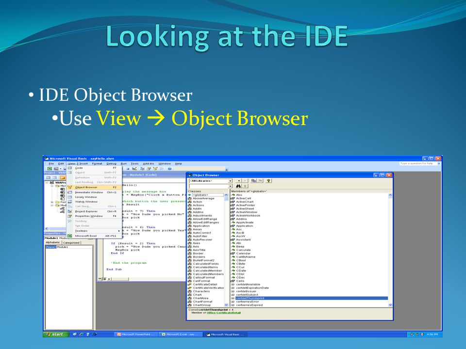 IDE Object Browser Use View  Object Browser