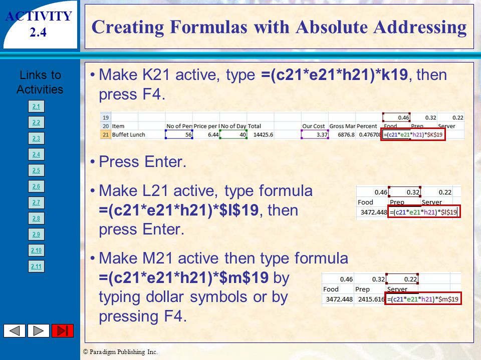 © Paradigm Publishing Inc. Links to Activities 2.1 2.2 2.3 2.4 2.5 2.6 2.7 2.8 2.9 2.10 2.11 Creating Formulas with Absolute Addressing Make K21 activ
