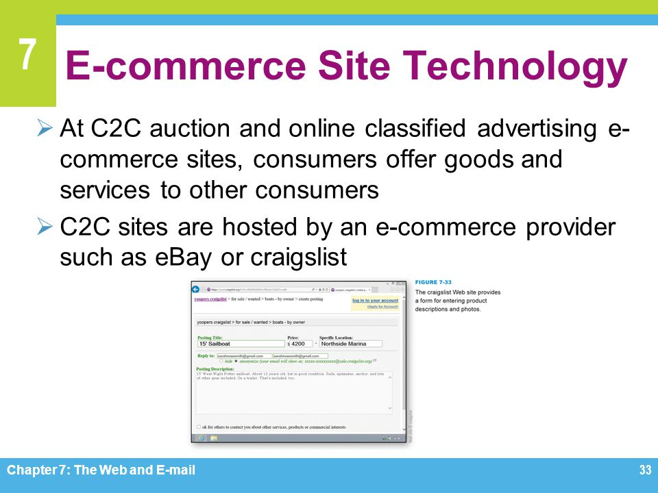 7 E-commerce Site Technology  At C2C auction and online classified advertising e- commerce sites, consumers offer goods and services to other consume