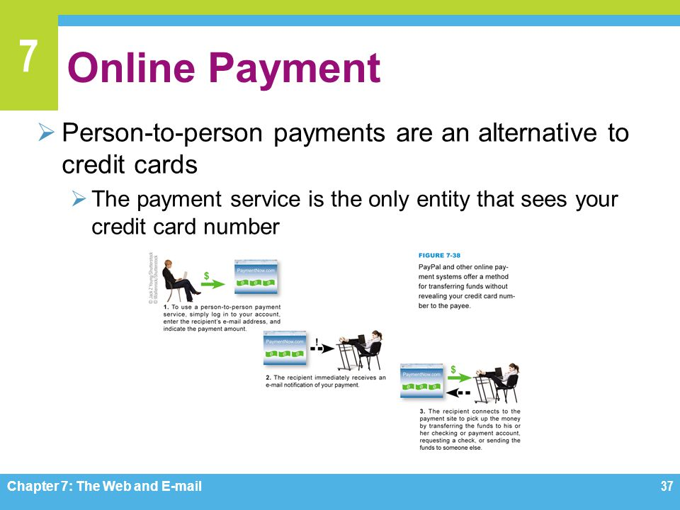 7 Online Payment  Person-to-person payments are an alternative to credit cards  The payment service is the only entity that sees your credit card nu