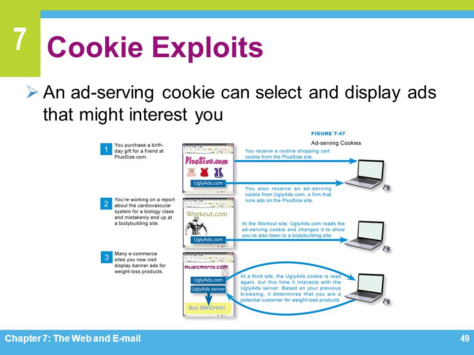 7 Cookie Exploits  An ad-serving cookie can select and display ads that might interest you Chapter 7: The Web and E-mail49