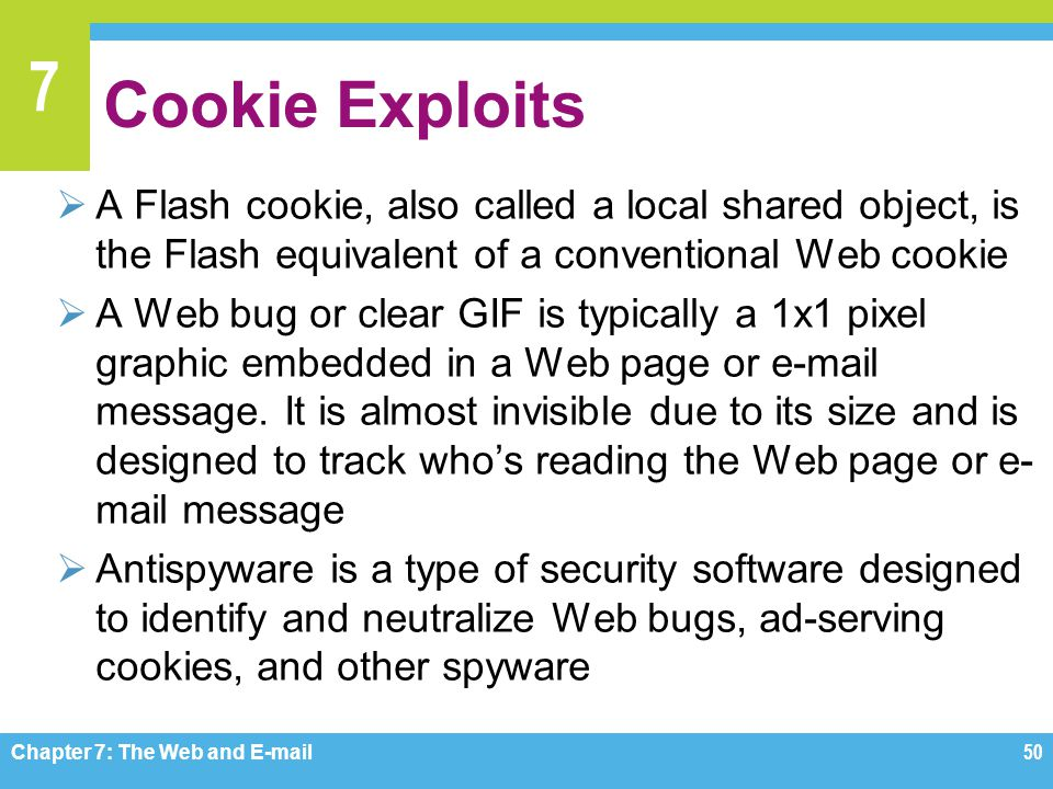 7 Cookie Exploits  A Flash cookie, also called a local shared object, is the Flash equivalent of a conventional Web cookie  A Web bug or clear GIF i